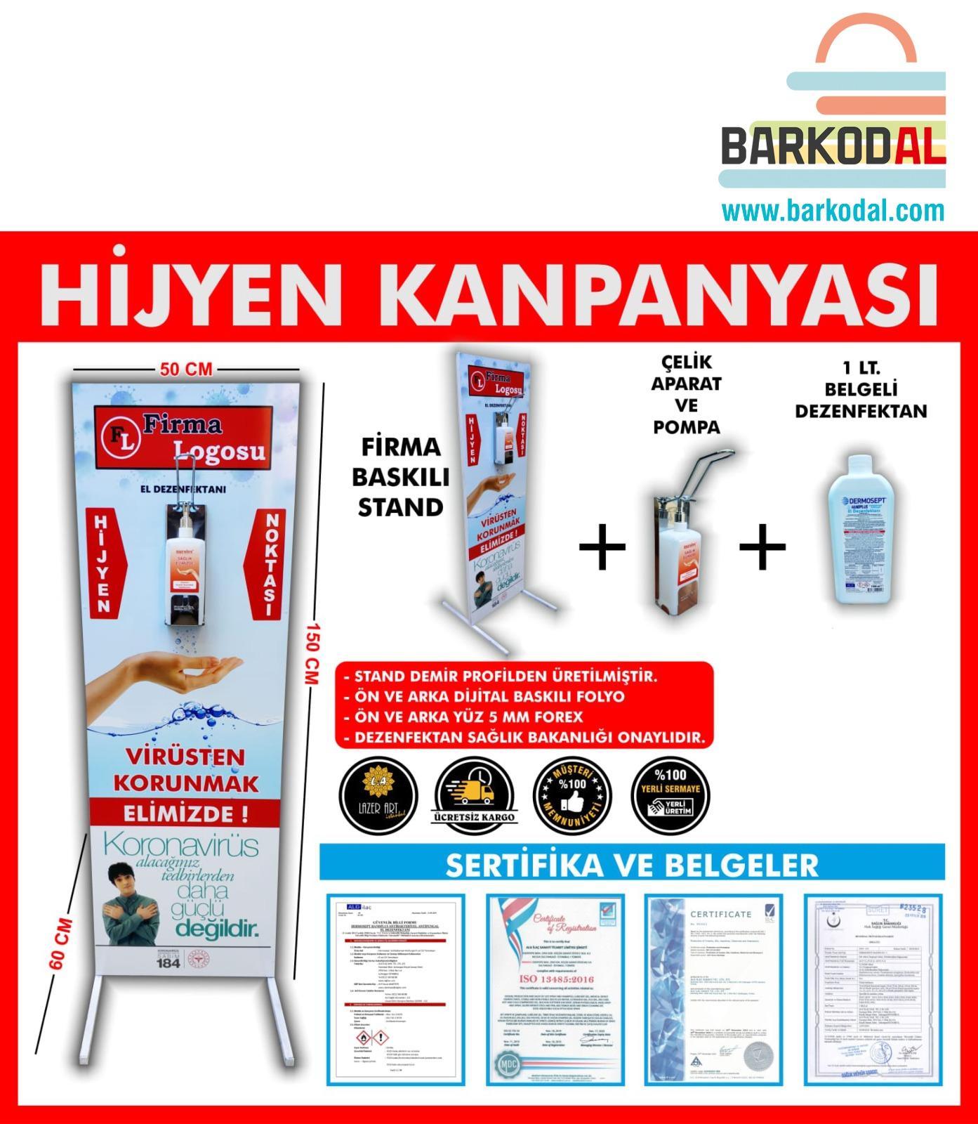 Ayaklı Dezenfektan Standı (Sadece İstanbul İçi Teslimat-1 Lt Dezenfektanlı)
